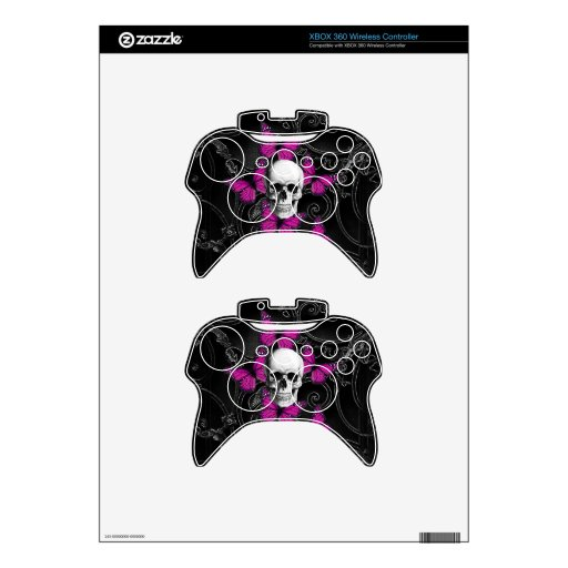 Gothic skull & purple butterflies xbox 360 controller skin