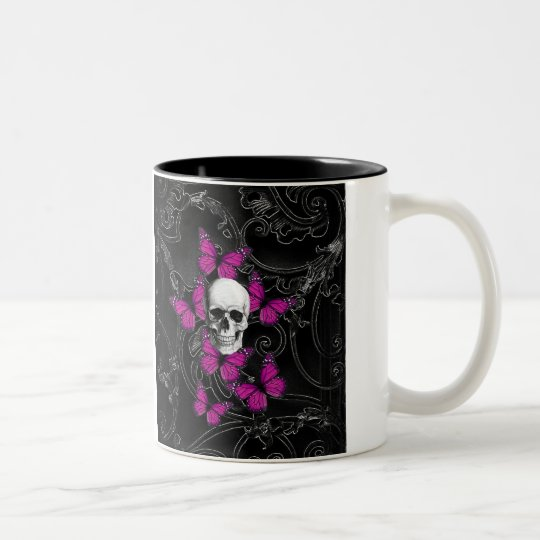 Gothic skull & purple butterflies Two-Tone coffee mug