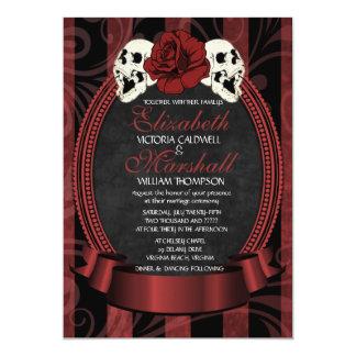 Gothic Skull Rose Wedding Invitation | red