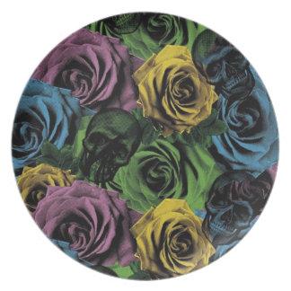 Gothic Skull Roses Melamine Plate