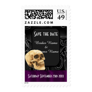 Gothic skull save the date postage stamps