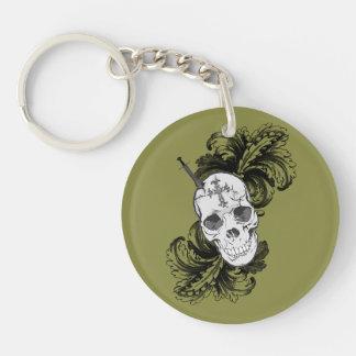 Gothic Skull Single-Sided Round Acrylic Keychain