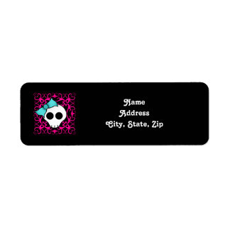 Gothic skull with blue blow on black and fuschia label