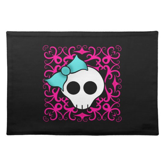 Gothic skull with blue blow on black and fuschia placemat