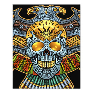 """Gothic Skull with Guns and Bullets by Al Rio 4.5"""" X 5.6"""" Flyer"""