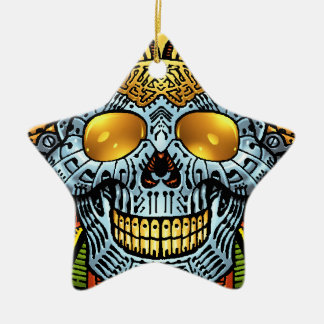 Gothic Skull with Guns and Bullets by Al Rio Christmas Ornaments
