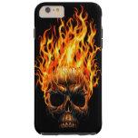 Gothic Skull Yellow Orange Fire Flames Pattern Tough iPhone 6 Plus Case