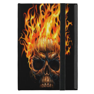 Gothic Skull Yellow Orange Fire Flames Pattern iPad Mini Case