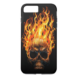 Gothic Skull Yellow Orange Fire Flames Pattern iPhone 7 Plus Case