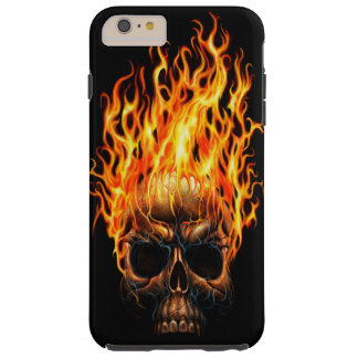 Gothic Skull Yellow Orange Fire Flames Pattern Tough iPhone 6 Plus Case