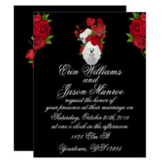 Gothic Skulls and Roses Card