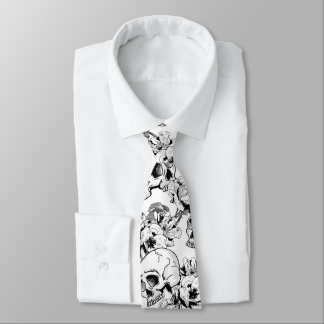 Gothic Skulls and Roses Line Art Business Wear Tie
