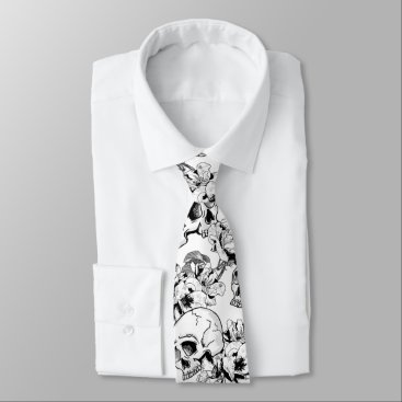 Professional Business Gothic Skulls and Roses Line Art Business Wear Tie