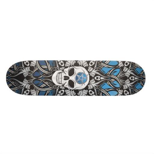 Gothic Skulls - Blue Skate Board Decks