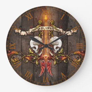 Gothic Skulls Wallclock