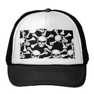 GOTHIC SKULLS CROSSBONES PATTERN TRUCKER HATS