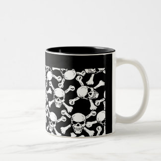 GOTHIC SKULLS CROSSBONES PATTERN Two-Tone COFFEE MUG