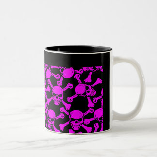 GOTHIC SKULLS CROSSBONES PATTERN Two-Tone COFFEE MUG