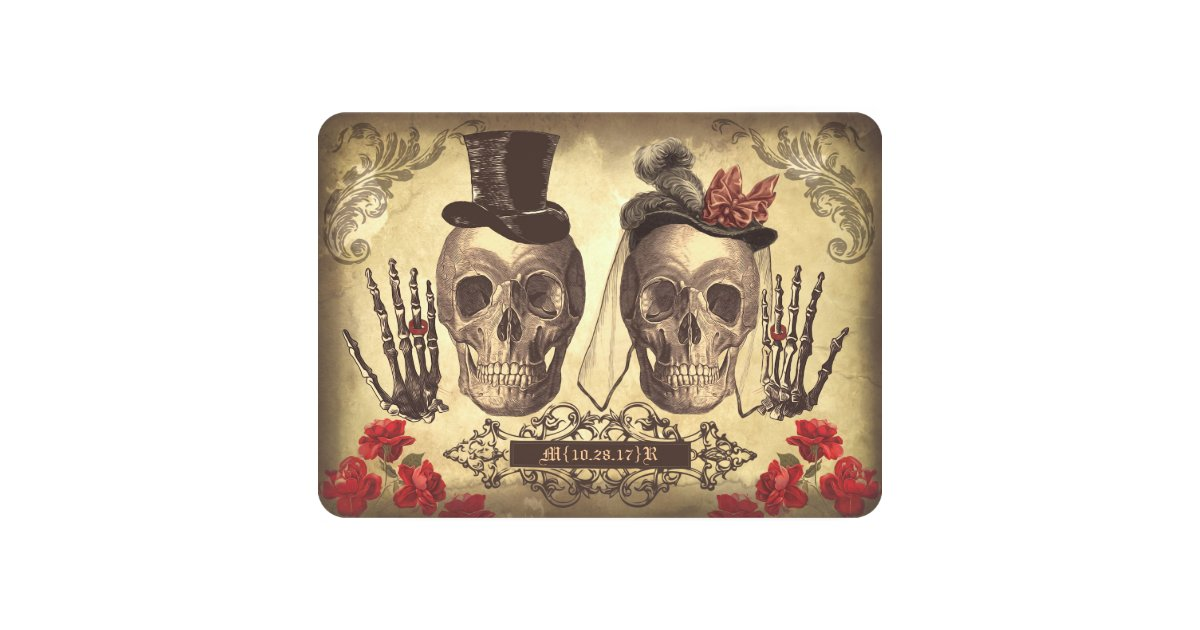 Day Of The Dead Wedding Gifts: Gothic Skulls Day Of The Dead Save The Date Cards
