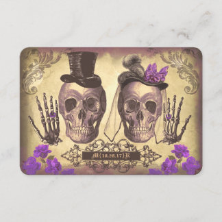 Gothic Skulls Day of The Dead Wedding RSVP cards