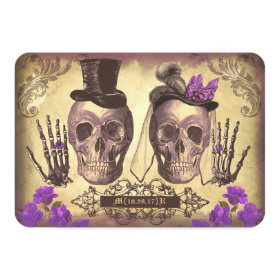 Gothic Skulls Day of The Dead Wedding RSVP cards 3.5