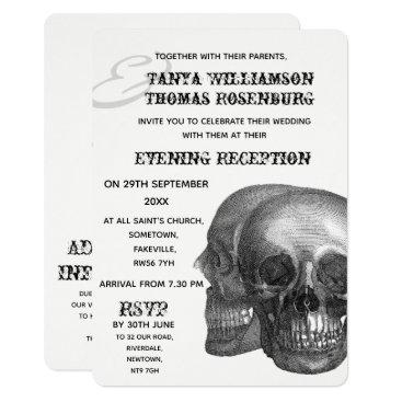 Wedding Themed Gothic Skulls Evening Invitation
