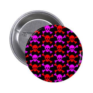 GOTHIC SKULLS RED PINK 2 INCH ROUND BUTTON