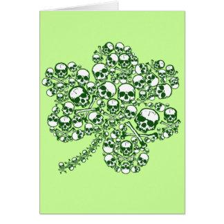 Gothic Skulls Shamrock Greeting Card