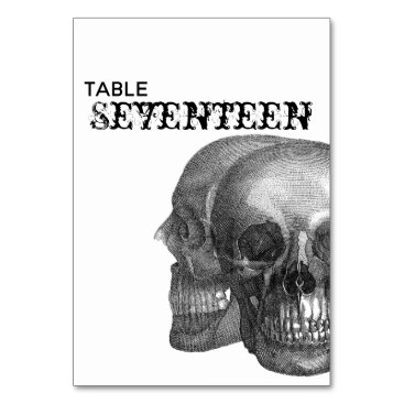 Wedding Themed Gothic Skulls Table Number