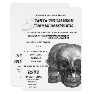 Wedding Themed Gothic Skulls Wedding Invitation