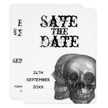 Wedding Themed Gothic Skulls Wedding Save The Date Card