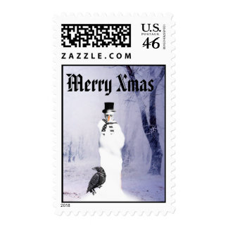 Gothic snowman Christmas Postage Stamp