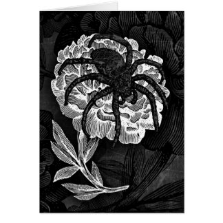 Gothic Spider On Flower Card