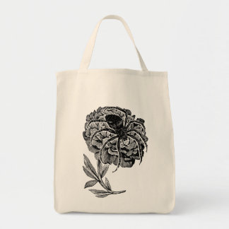 Gothic Spider On Flower Tote Bag