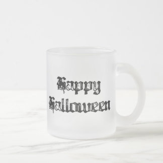Gothic Stamp Happy Halloween 10 Oz Frosted Glass Coffee Mug