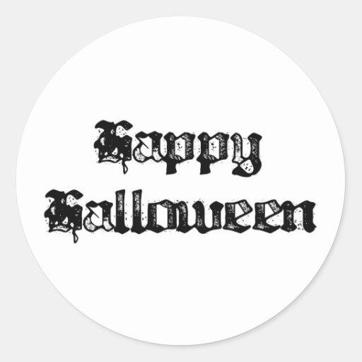 Gothic Stamp Happy Halloween Classic Round Sticker