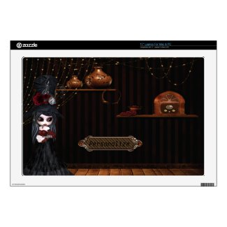 Gothic Steampunk Girl Victorian Room Laptop Skin musicskins_skin