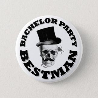 Gothic steampunk skull bachelor party button