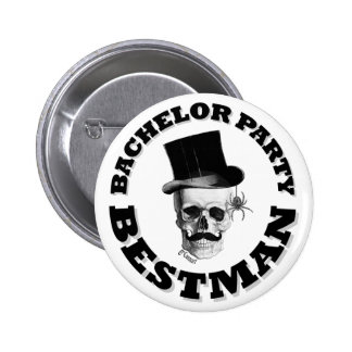 Gothic steampunk skull bachelor party pins