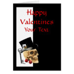 Gothic steampunk skull  gambler valentines day greeting card
