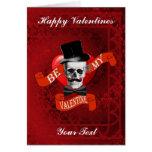 Gothic steampunk skull  & mustache  valentines day greeting card