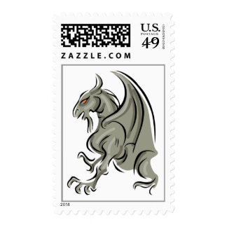 Gothic Stone Grey Gargolye Dragon Postage