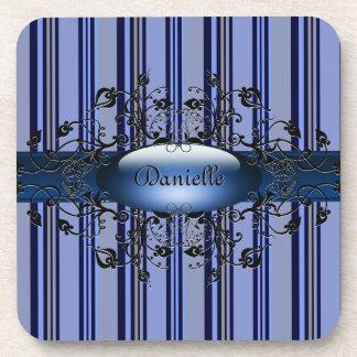 Gothic stripes in indigo Cork Coaster
