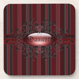 Gothic stripes in red Cork Coaster