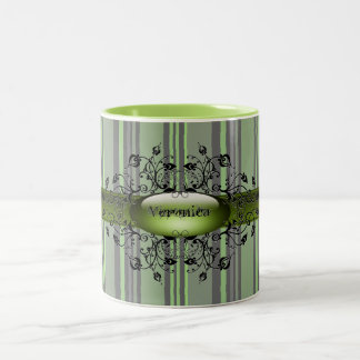 Gothic stripes jive green mug