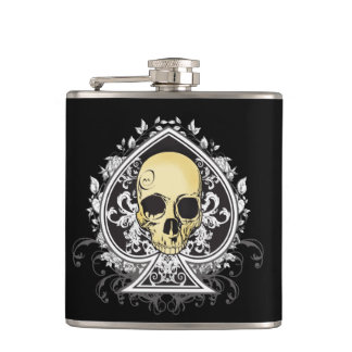 Gothic style black ace of spades with skull, hip flask