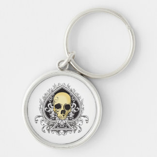 Gothic style black ace of spades with skull, keychain