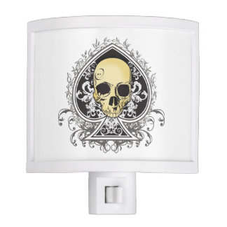 Gothic style black ace of spades with skull, night light