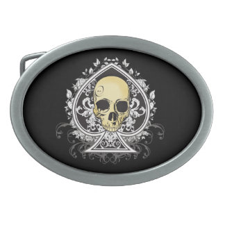 Gothic style black ace of spades with skull, oval belt buckle