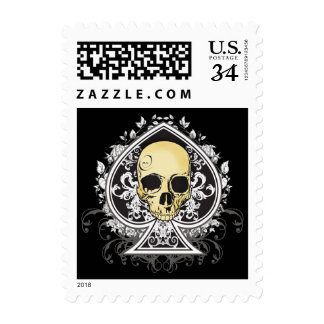 Gothic style black ace of spades with skull, postage